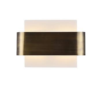 Inspiriert Deco - Damo - Flush Wandlicht, 2 Licht G9, weiße Basis mit antiken Messing Zentrum Band