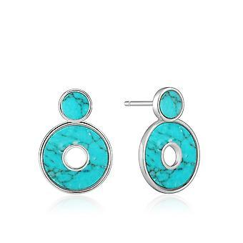 Ania Haie Hidden Gem Rhodium Turquoise Disc Ear Jackets E022-03H