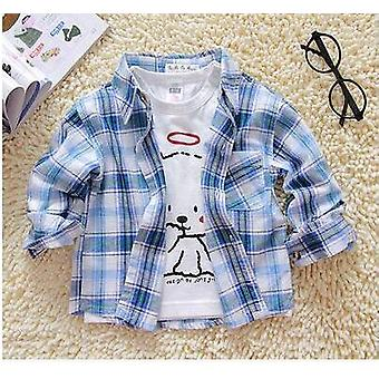 Baby Boy Cotton Long Sleeve Plaid Shirt Spring Autumn Full Single Button Turn-down Collar Classic