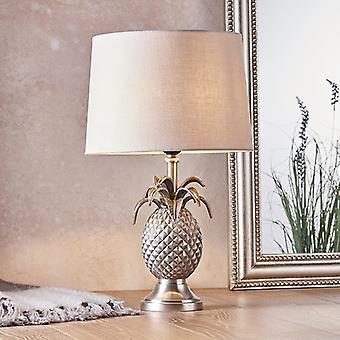 Endon Beleuchtung Ananas & Mia - Tischlampe Zinn Platte & natürliche Leinen 1 Licht IP20 - E27