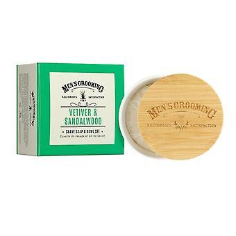 Scottish Fine Soaps Vetiver & Sandalwood Shave Soap & Bowl Set 100g