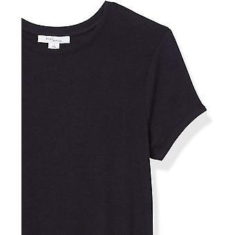 Daily Ritual Women's camisa de cuello redondo de manga corta acanalada, negro, mediano