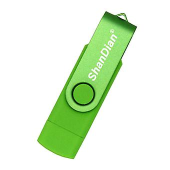 ShanDian High Speed Flash Drive 32GB - USB and USB-C Stick Memory Card - Green