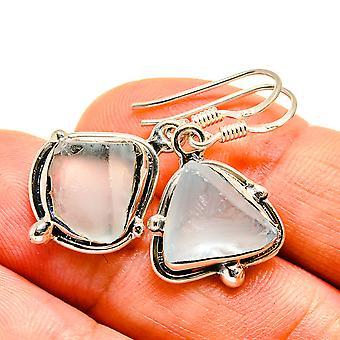 "Rough Aquamarine Earrings 1 1/4"" (925 Sterling Silver)  - Handmade Boho Vintage Jewelry EARR407539"