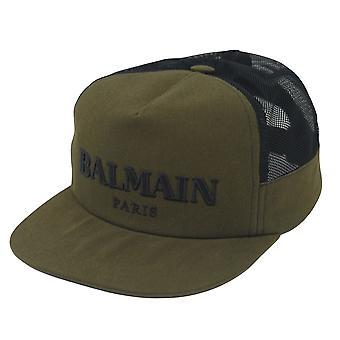 Balmain Paris Logo Khaki Green Cap