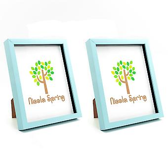 Nicola Spring Photo Frame - Acrylic Box Frame (Glass Cover) - 8x10in - Blue - Pack of 2