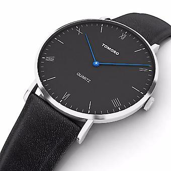 TOMORO TM0818 Fashion Leather Strap Large Dial Blue Pointer Ultra-thin Men Watch