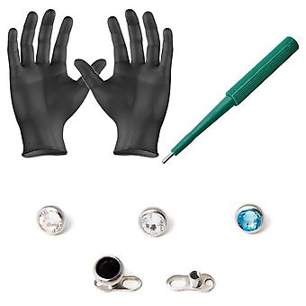 Piercing kit dermal anchors tops dermal bases puncher and  gloves 8 pieces bj67500
