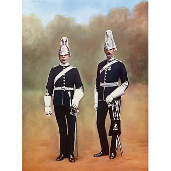 Yorkshire Dragoons Officer And Private From Picturesque History Of Yorkshire Published C1900 PosterPrint