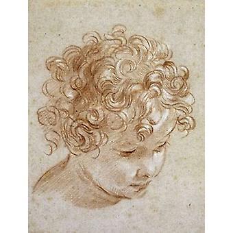 ニコロ ・ Berrettoni によって子ポスター印刷の頭