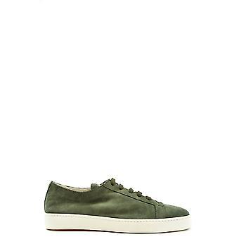 Santoni Ezbc023018 Men's Green Suede Sneakers
