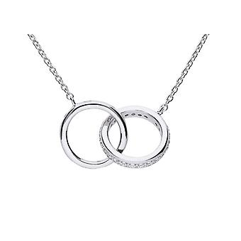 Diamonfire 925 Sterling Silver Flush Set Cubic Zirconia Interlinking Circle Rings Necklace of Length 43-45cm