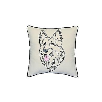 "German Shepherd Portrait Dog Printed Design Novelty White Cotton Pillow 15""x15"""