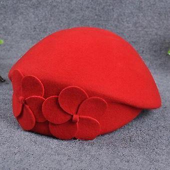 100% Villa baretti Talvi Huopa Kukka Naiset Tunsivat Ranskan Fedora Hattu