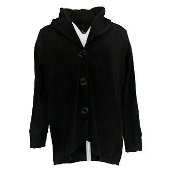Cuddl Duds Women's Sweater Fleecewear Stretch Button Front Black A369667