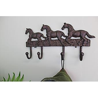 Rustic Cast Iron Wall Hooks, Three Horses