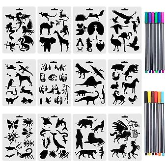 Ccmart set of 12 animal stencils with 12 colored fineliner pens, plastic drawing painting templates