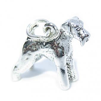 Airedale Dog Sterling Silver Charm .925 X 1 Airedales Dogs Charms - 7177