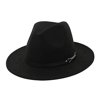 Fedora Hat Homens Mulheres Imitação Woolen Winter Women Felt Hats Men Fashion Black