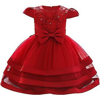 Baby Meisje Formele Doop Prinses Jurk 892-wijn rood