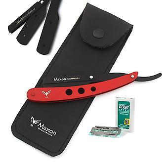 Maxon 3h Red Straight Razor Set Stainless Steel Shaving Set