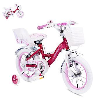 Byox barnens cykel 14 tum blomma rosa stödhjul, främre korg, docka Seat Bell