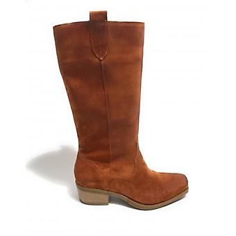 Women's Shoes Elite Texan Boot Square Tip In Suede Leather Color Leather Ds20el08