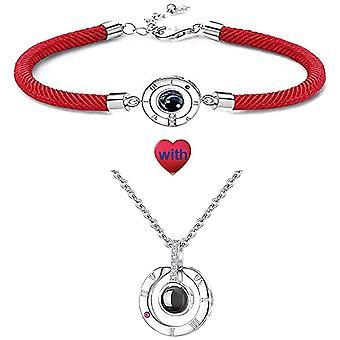QueenDer Damen Schmuck Halskette Armband Set 100 Sprachen I Love You Projektion Zirkon Kristall fr