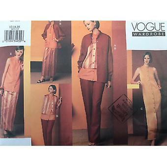 Vogue Ompelu kuvio 2673 Misses Naisten Mekko Hame Liivi Top Koko 12-16 Leikkaamaton