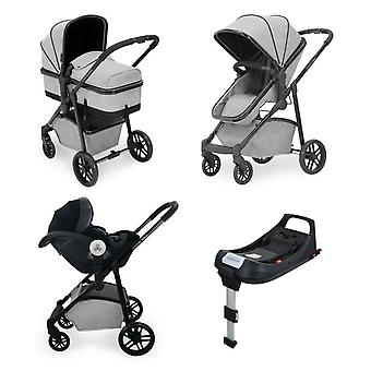 Ickle Bubba Moon i-Size 3 in 1 Travel System With Isofix Base - Silver Grey