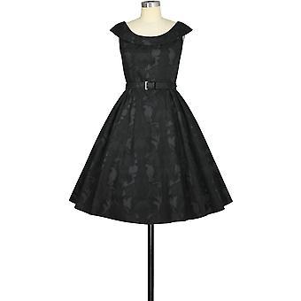 Chic Star Round-Collar Retro Dress In Black/Floral