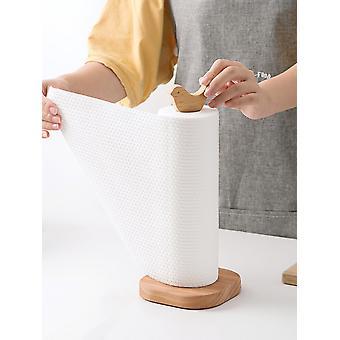 Kitchen Wooden Roll Paper Towel Holder Bathroom Tissue Vertical Stand Napkins Rack Home Kitchen Toilet Storage Accessories