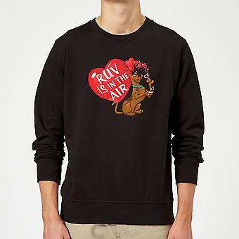 Scooby Doo Ruv Is In The Air Merch Long Sleeve Sweatshirt Jumper Top - Black