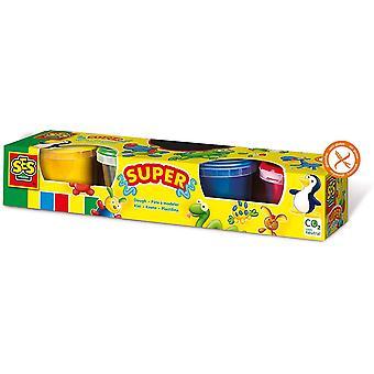 SES CREATIVE Childrens Modelling Dough Set - 4 Potten Set - 2 tot 12 Jaar (00465)