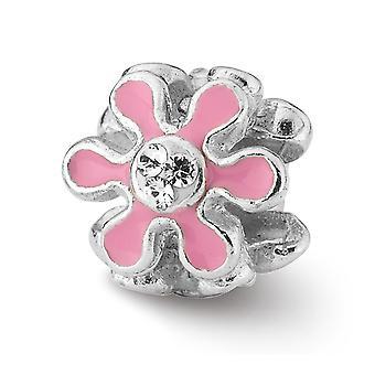 925 Sterling Silver Polerad Rosa Emalj Reflektioner Rosa Blomma Med Kristall Pärla Charm Hänge Halsband Smycken Gåvor
