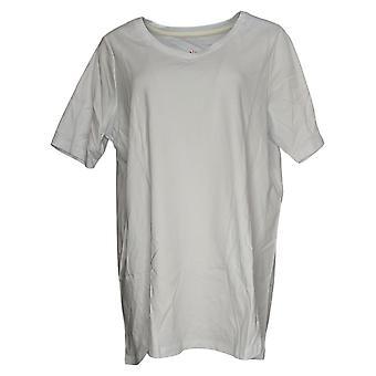 Isaac Mizrahi Live! Dames Jersey Plus Pima V-Hals Tulp Zoom Wit A379612