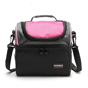 Insulated thermal 2 layers lunch bag for school food tote bento men women with adjustable straps