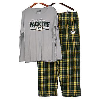 NFL Conjunto de pijama de mujer W / Long Slv &Flannel Pants Packer Green A387687