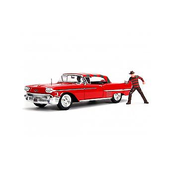 Cadillac Series 62 (1958) Diecast Model Car con Freddy Krueger Figure de Nightmare On Elm Street