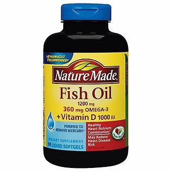 Nature Made Fish Oil + Vitamin D, 90 Liquid Softgels