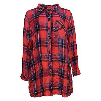 Coleção Tolani Feminino Top Reg Plaid Tunic Vermelho A383438