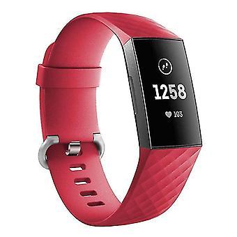 Pulsera de silicona compatible con Fitbit Charge 3 (Rojo)
