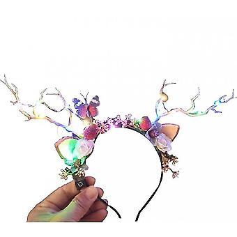 Headwear New Luminous Antler Headband Elk Headband Wreath(Colored Lights)