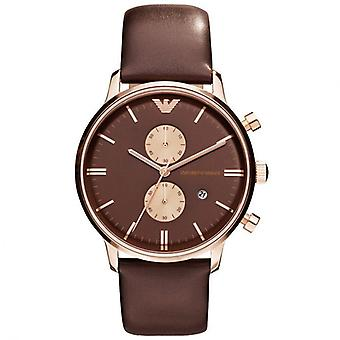 Emporio Armani AR0387 Brown Leather Strap Brown Dial Chronograph Watch