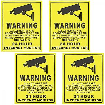 4 Pc'er Video Surveillance Sticker Sign Decal For Home Business Camera Alarm System Klistermærker, Klæbemiddel 24 timers sikkerhedsadvarselsskilte