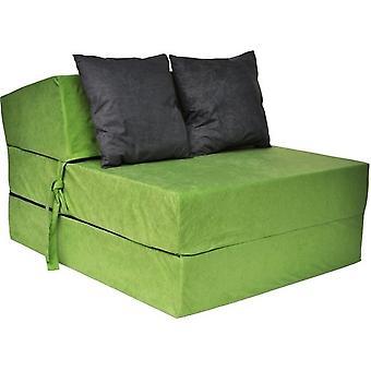 Luxury sleeping mattress - green - camping mattress - travel mattress - foldable mattress - 200 x 70 x 15 - with black pillows