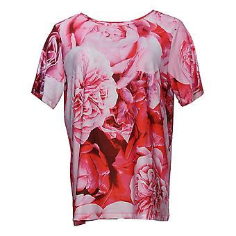 DG2 door Diane Gilman Women's Top All-Over Print Tee Pink 655268