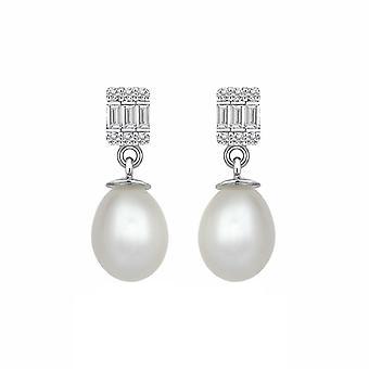 Orecchini di diamante perla Baguette