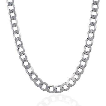 Rhodium Plated 8.4mm Sterling Silver Curb Style Chain