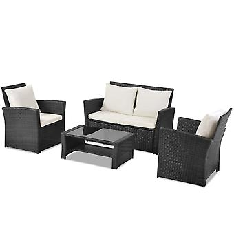 5 Pieces Conversation Outdoor Patio Rattan Furniture Set With Fitting Furniture Cover